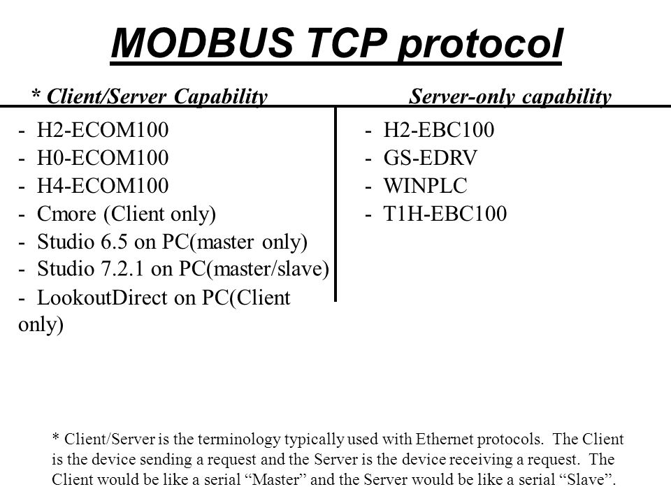 MODBUS Addressing (Decimal) Coils:1-65535 584/984484 1-9999 Status Input:10001-1655351001-1999 Input Registers:30001-3655353001-3999 Holding Registers:40001-4655354001-4999 This addressing style would be considered more a PLC addressing scheme as opposed to an actual protocol addressing scheme but this is the most prominent addressing style for MODBUS devices out there.