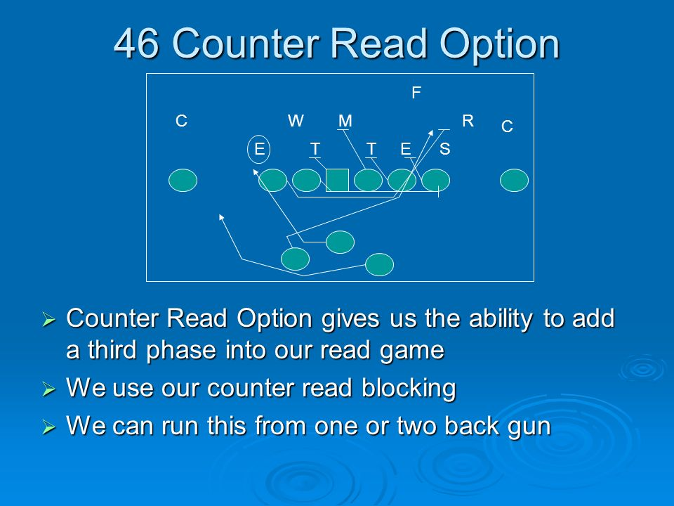 46 Counter Read Option Counter Read Option gives us the ability to add a third phase into our read game Counter Read Option gives us the ability to ad