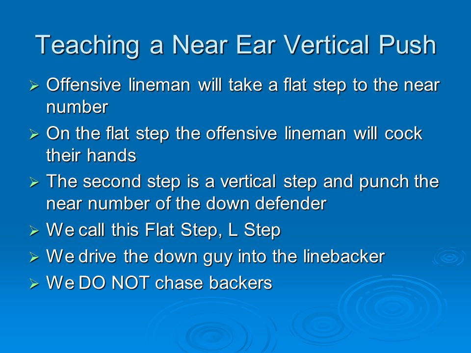 Teaching a Near Ear Vertical Push Offensive lineman will take a flat step to the near number Offensive lineman will take a flat step to the near numbe