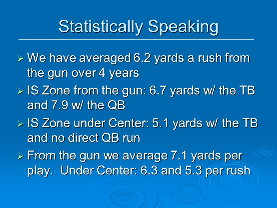 Statistically Speaking We have averaged 6.2 yards a rush from the gun over 4 years We have averaged 6.2 yards a rush from the gun over 4 years IS Zone