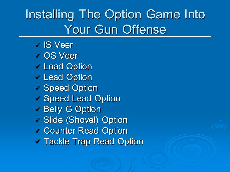 Installing The Option Game Into Your Gun Offense IS Veer IS Veer OS Veer OS Veer Load Option Load Option Lead Option Lead Option Speed Option Speed Op