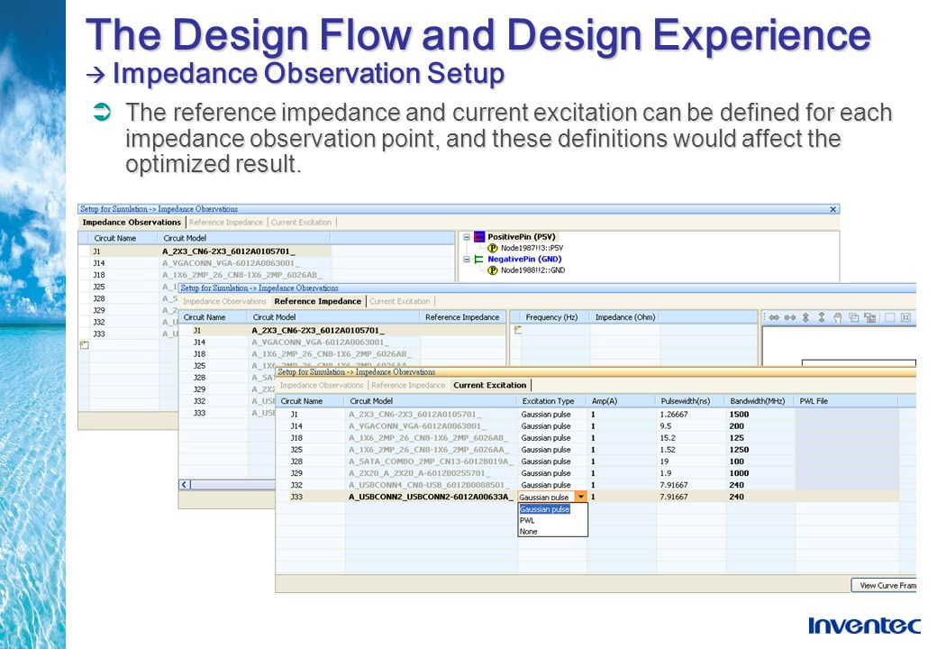 The Design Flow and Design Experience Impedance Observation Setup The reference impedance and current excitation can be defined for each impedance obs