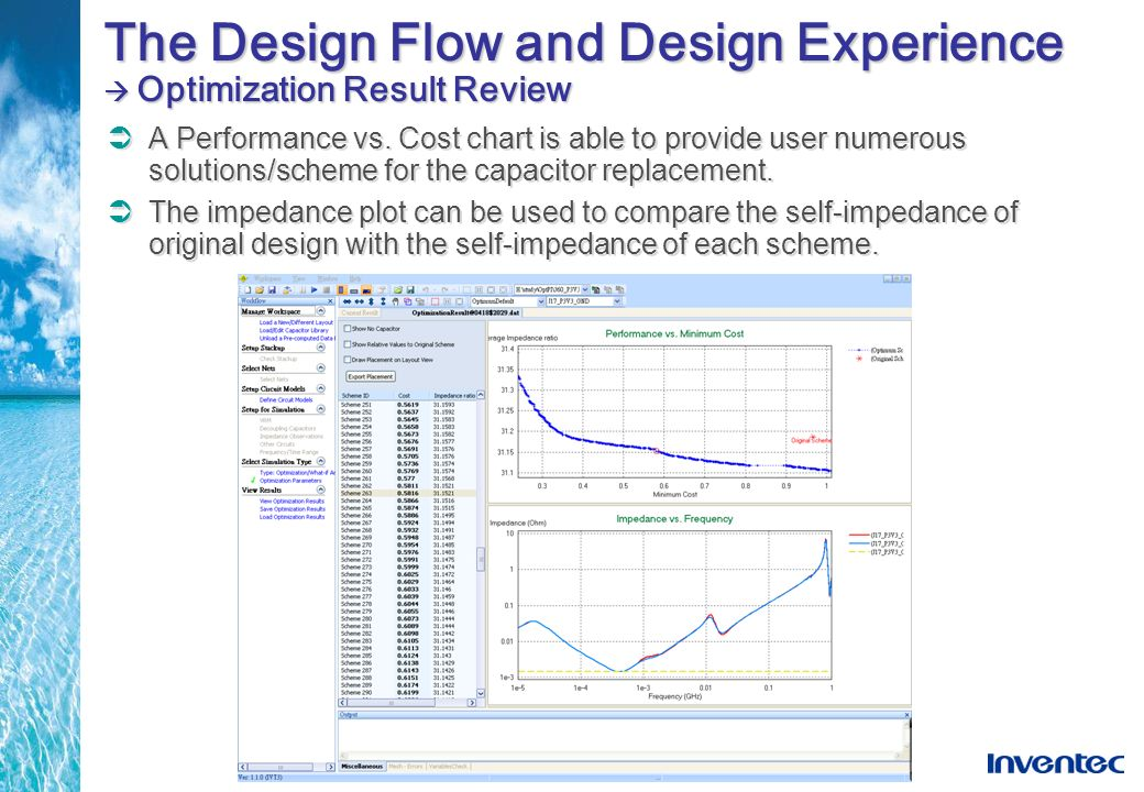 The Design Flow and Design Experience Optimization Result Review A Performance vs. Cost chart is able to provide user numerous solutions/scheme for th