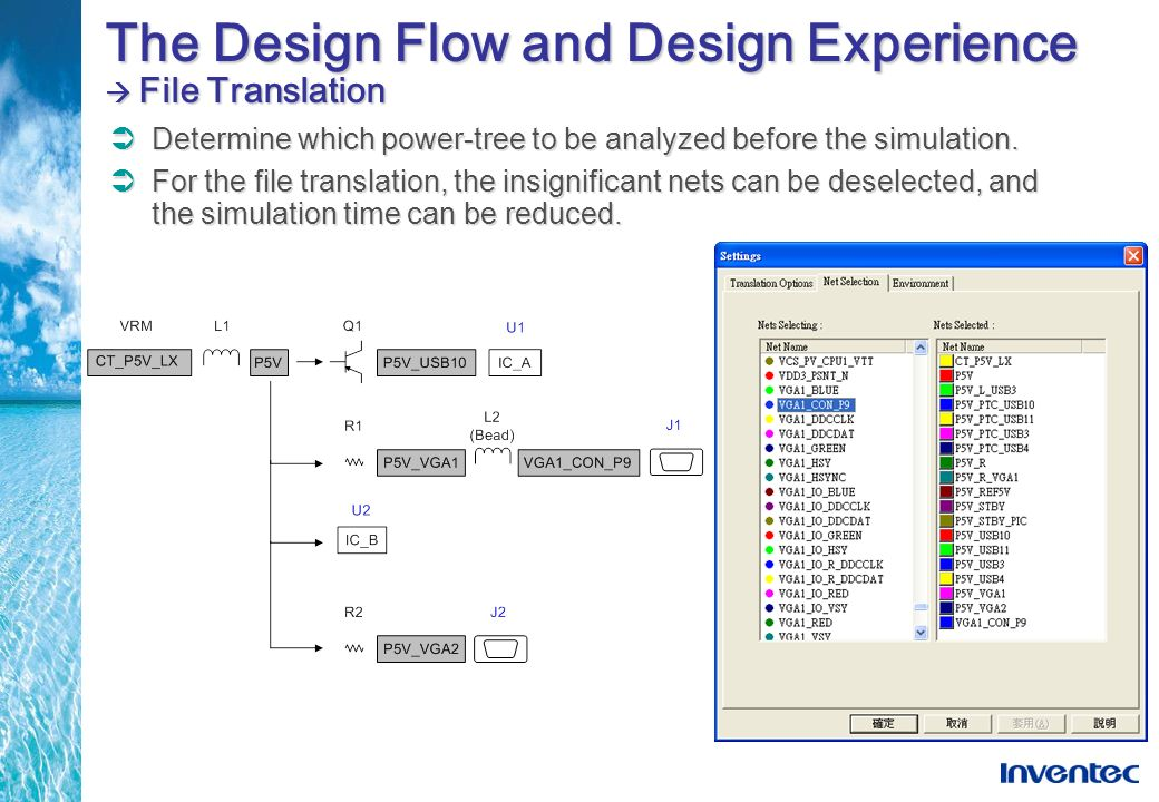 The Design Flow and Design Experience File Translation Determine which power-tree to be analyzed before the simulation. For the file translation, the