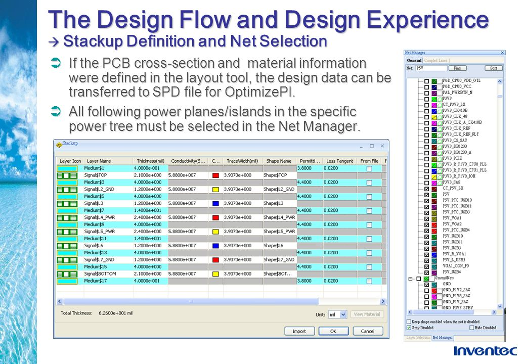 The Design Flow and Design Experience Stackup Definition and Net Selection If the PCB cross-section and material information were defined in the layou