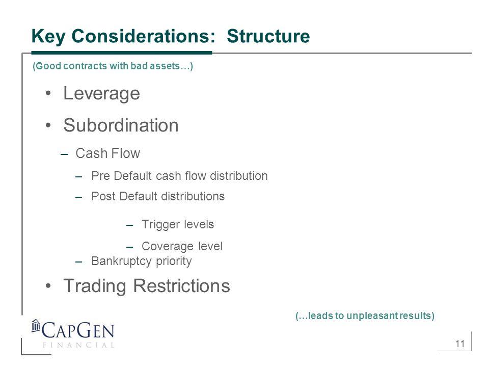 11 Key Considerations: Structure Leverage Subordination –Cash Flow –Pre Default cash flow distribution –Post Default distributions –Trigger levels –Co