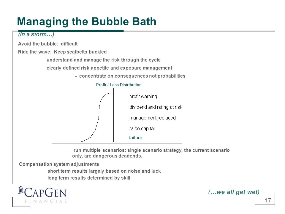 17 Managing the Bubble Bath (In a storm…) Avoid the bubble: difficult Ride the wave: Keep seatbelts buckled understand and manage the risk through the cycle clearly defined risk appetite and exposure management - concentrate on consequences not probabilities - run multiple scenarios: single scenario strategy, the current scenario only, are dangerous deadends.