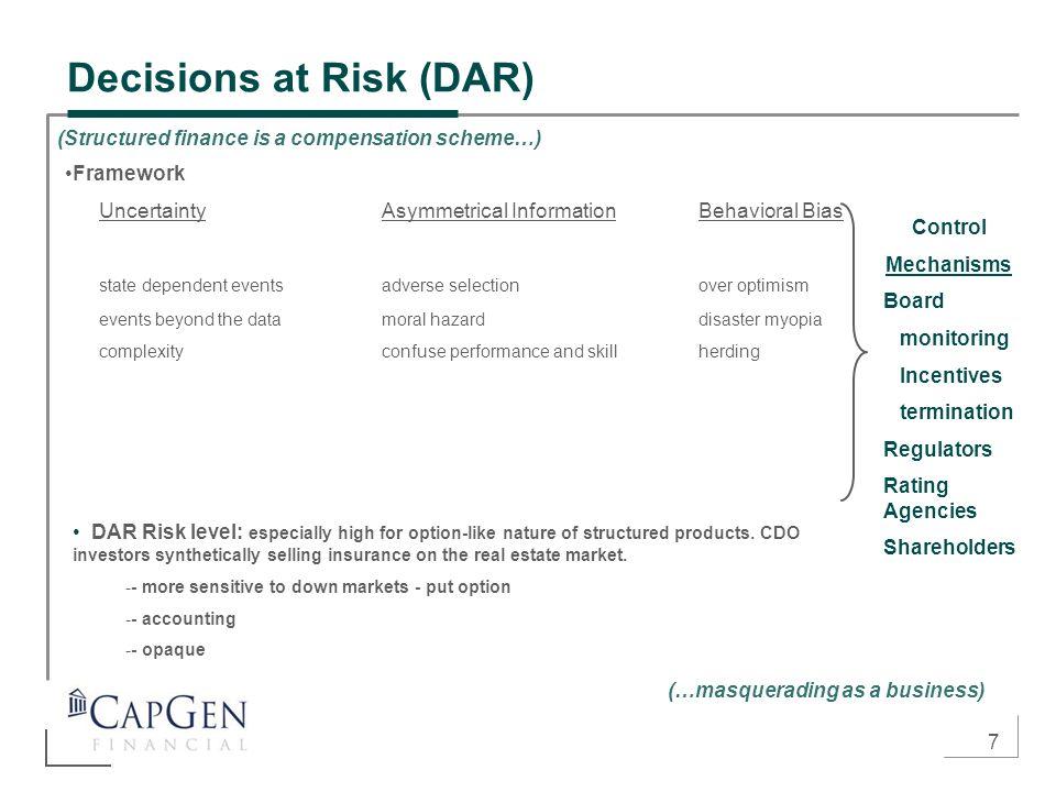 7 Decisions at Risk (DAR) Framework UncertaintyAsymmetrical InformationBehavioral Bias state dependent eventsadverse selectionover optimism events bey