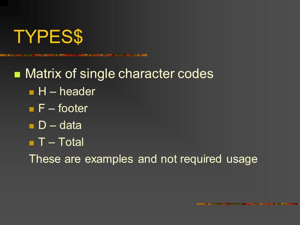 Syntax FNRTF( MAT TYPES$, MAT STYLES$, MAT DATA$, RTFFILE; LMARGIN, RMARGIN) (LMARGIN and RMARGIN are optional)