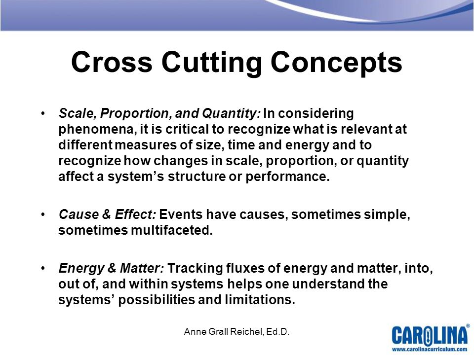 Cross Cutting Concepts Scale, Proportion, and Quantity: In considering phenomena, it is critical to recognize what is relevant at different measures o