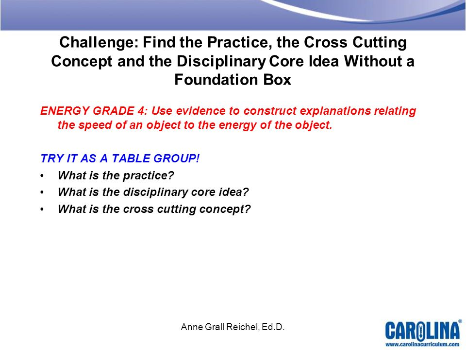 Challenge: Find the Practice, the Cross Cutting Concept and the Disciplinary Core Idea Without a Foundation Box ENERGY GRADE 4: Use evidence to constr