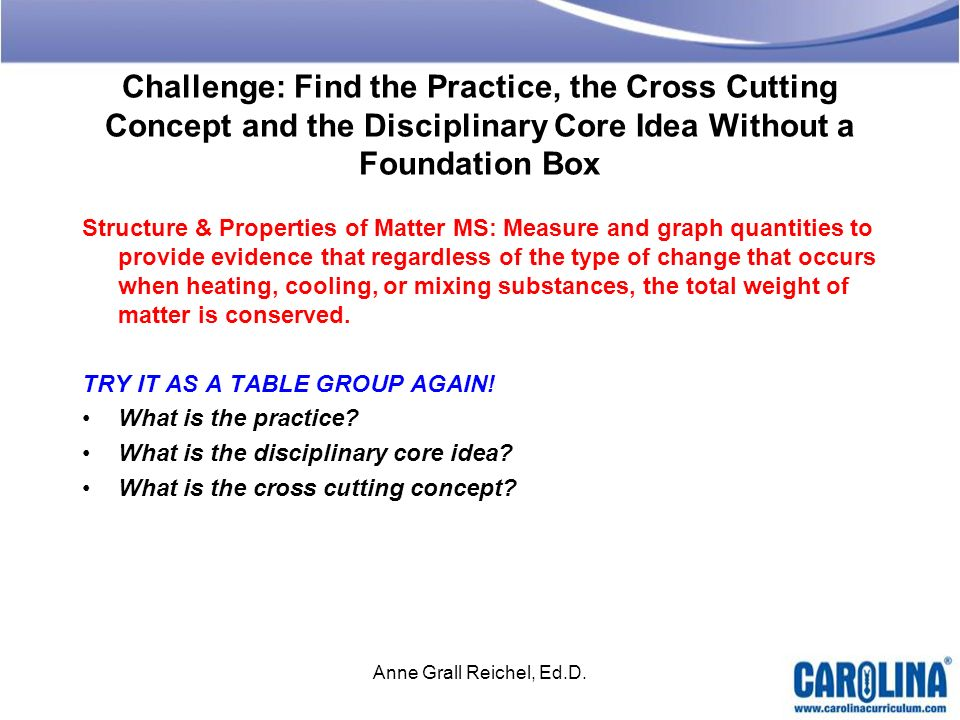 Challenge: Find the Practice, the Cross Cutting Concept and the Disciplinary Core Idea Without a Foundation Box Structure & Properties of Matter MS: M