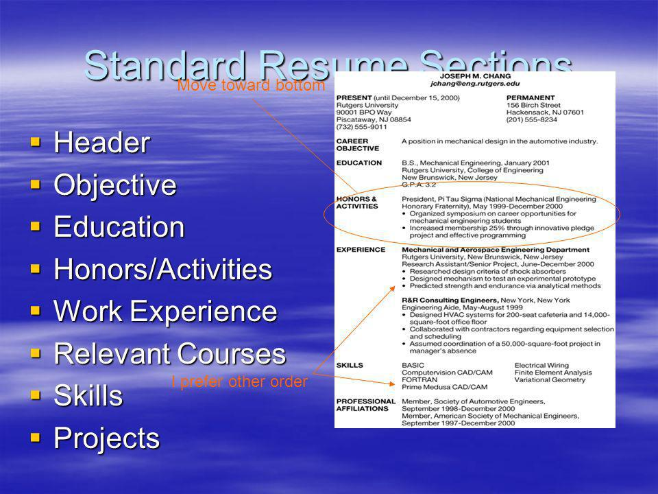 Standard Resume Sections Header Header Objective Objective Education Education Honors/Activities Honors/Activities Work Experience Work Experience Relevant Courses Relevant Courses Skills Skills Projects Projects Move toward bottom I prefer other order