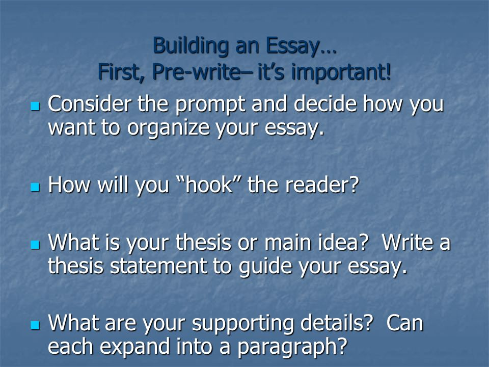 Building an Essay… First, Pre-write– its important! Consider the prompt and decide how you want to organize your essay. Consider the prompt and decide