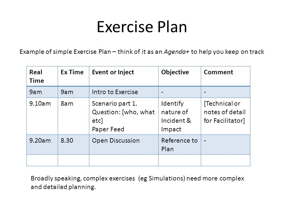 Exercise Plan Real Time Ex TimeEvent or InjectObjectiveComment 9am Intro to Exercise-- 9.10am8amScenario part 1.