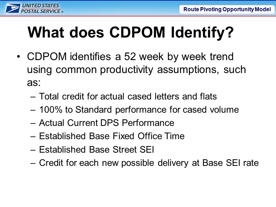 Route Pivoting Opportunity Model What does CDPOM Identify.