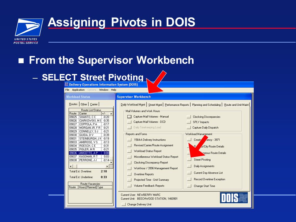Assigning Pivots in DOIS From the Supervisor Workbench –SELECT Street Pivoting