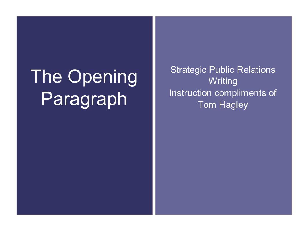 The Opening Paragraph Strategic Public Relations Writing Instruction compliments of Tom Hagley