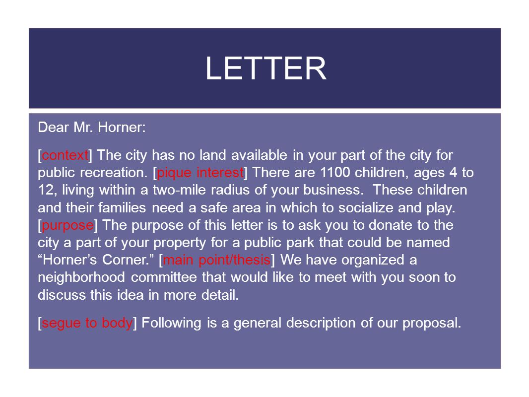 LETTER Dear Mr. Horner: [context] The city has no land available in your part of the city for public recreation. [pique interest] There are 1100 child