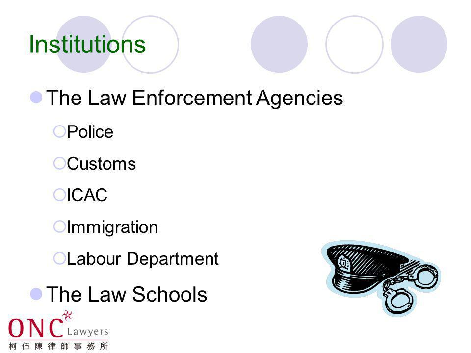 Institutions The Courts The Legislative Council The NPC Department of Justice Legal Aid Department