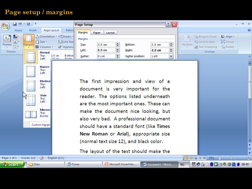 4,0 cm 0 cm 2,5 cm 4,0 cm Left 2,5 cm Page setup / margins