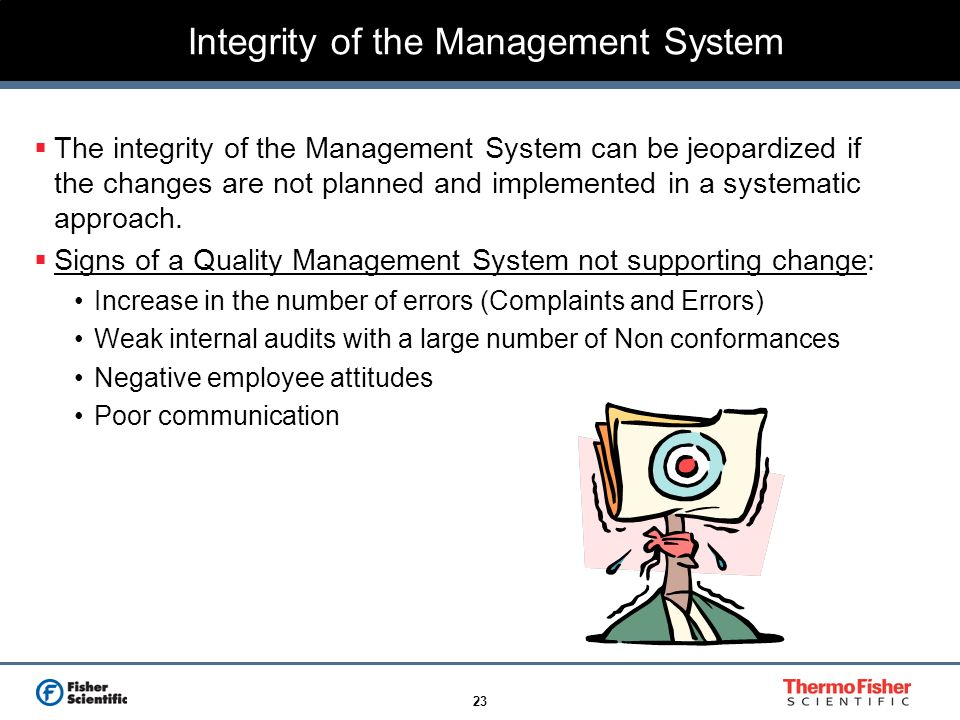 23 Integrity of the Management System The integrity of the Management System can be jeopardized if the changes are not planned and implemented in a sy