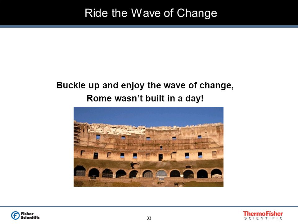 33 Ride the Wave of Change Buckle up and enjoy the wave of change, Rome wasnt built in a day!
