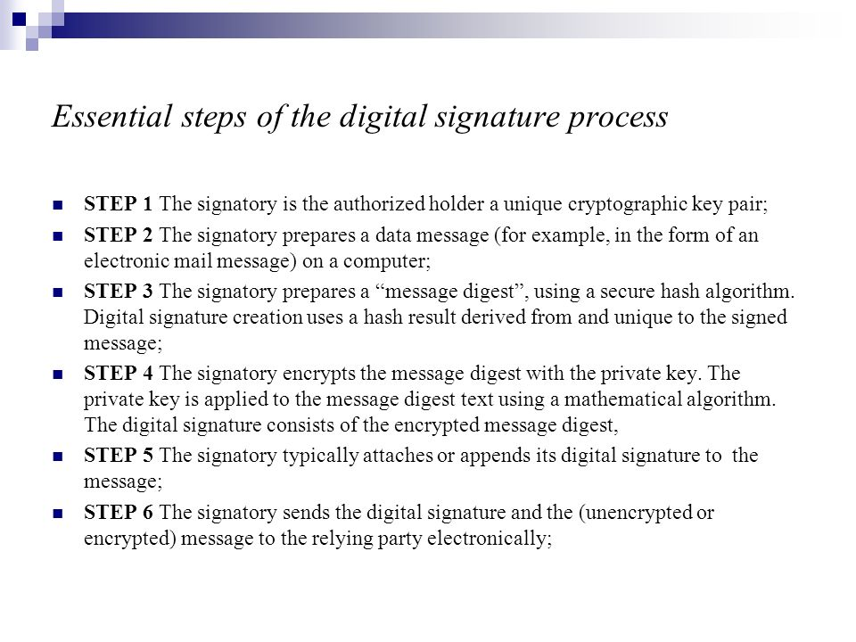 Essential steps of the digital signature process STEP 1 The signatory is the authorized holder a unique cryptographic key pair; STEP 2 The signatory p
