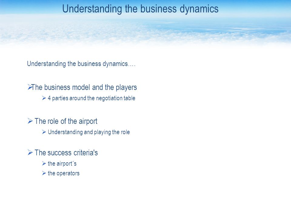 Understanding the business dynamics….