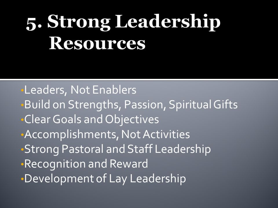 Leaders, Not Enablers Build on Strengths, Passion, Spiritual Gifts Clear Goals and Objectives Accomplishments, Not Activities Strong Pastoral and Staff Leadership Recognition and Reward Development of Lay Leadership