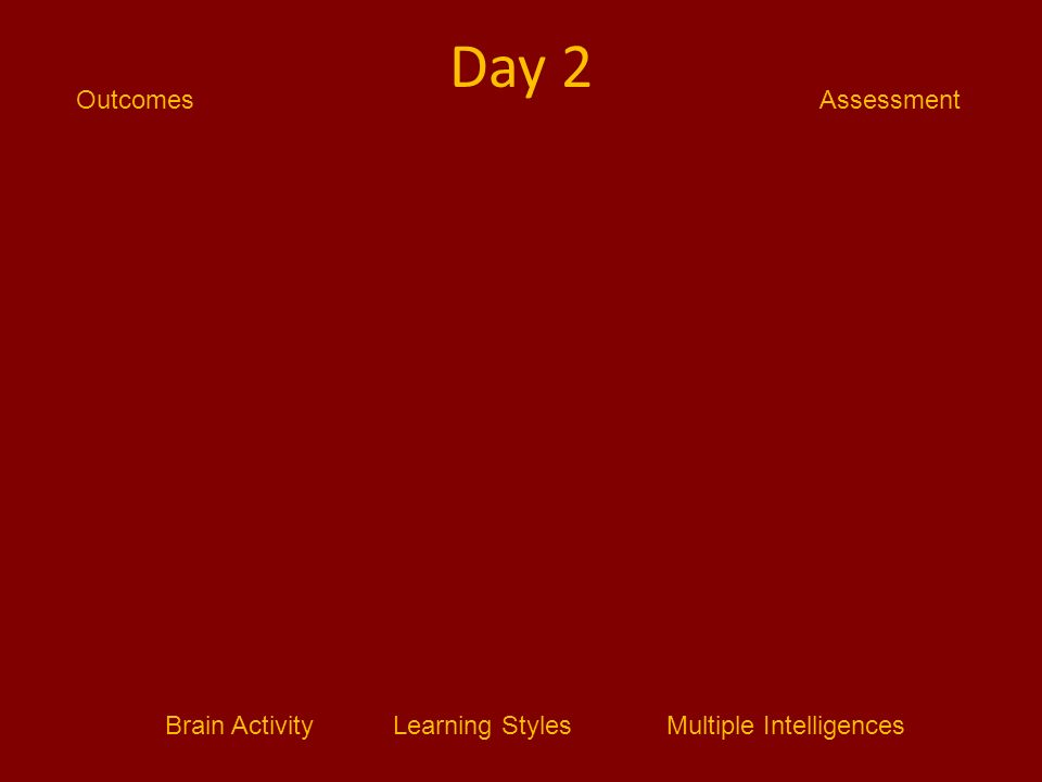 Brain ActivityLearning StylesMultiple Intelligences AssessmentOutcomes Day 2