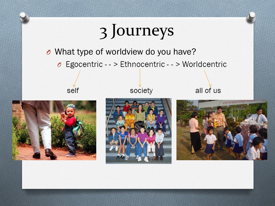 3 Journeys O What type of worldview do you have? O Egocentric - - > Ethnocentric - - > Worldcentric self society all of us