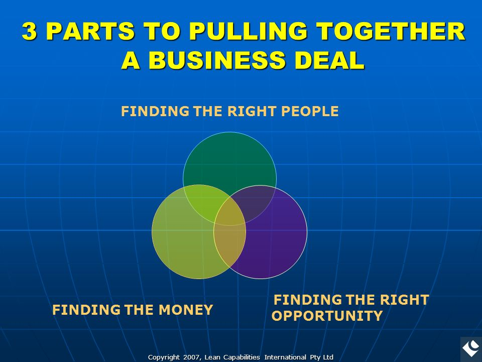 Copyright 2007, Lean Capabilities International Pty Ltd 3 PARTS TO PULLING TOGETHER A BUSINESS DEAL FINDING THE RIGHT PEOPLE FINDING THE RIGHT OPPORTUNITY FINDING THE MONEY
