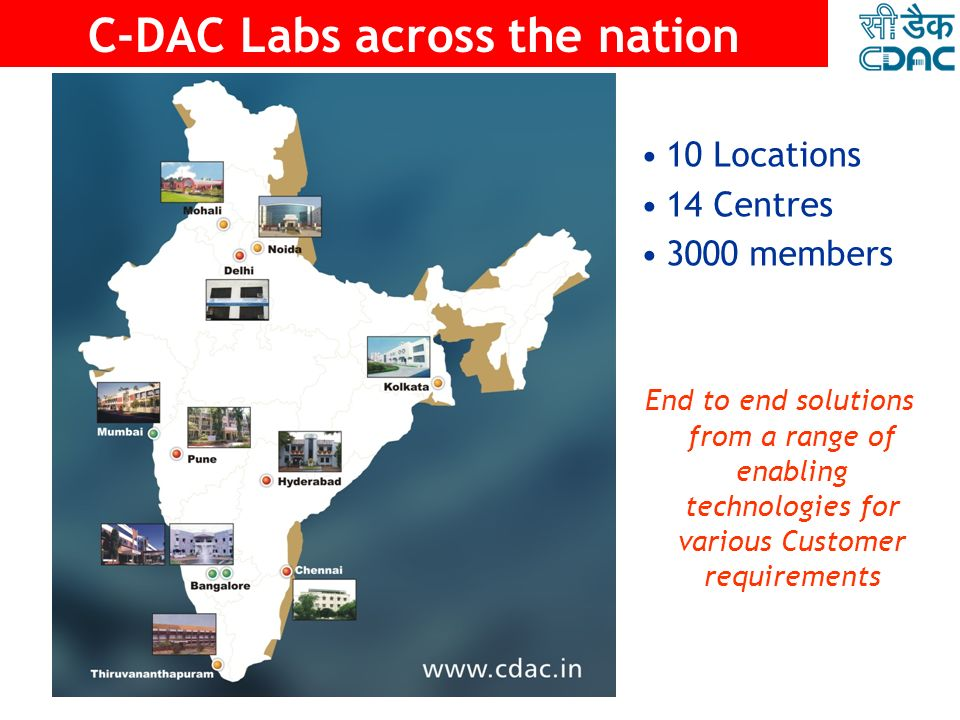 C-DAC A National Centre of Excellence A National Centre of Excellence Under DIT, Ministry of Communications and Information Technology, Govt. of India