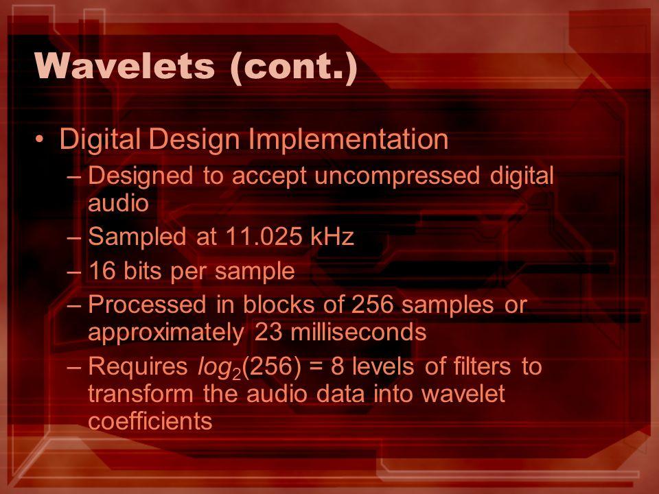 Wavelets (cont.) Digital Design Implementation –Designed to accept uncompressed digital audio –Sampled at 11.025 kHz –16 bits per sample –Processed in