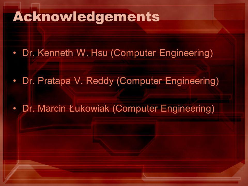 Acknowledgements Dr. Kenneth W. Hsu (Computer Engineering) Dr. Pratapa V. Reddy (Computer Engineering) Dr. Marcin Łukowiak (Computer Engineering)