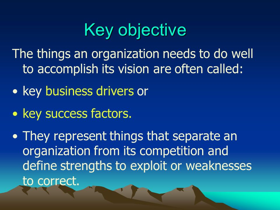 Key objective The things an organization needs to do well to accomplish its vision are often called: key business drivers or key success factors. They