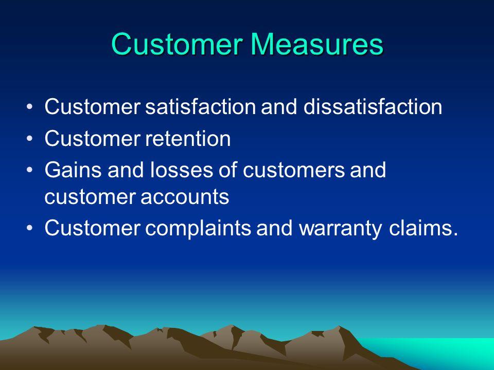 Customer Measures Customer satisfaction and dissatisfaction Customer retention Gains and losses of customers and customer accounts Customer complaints