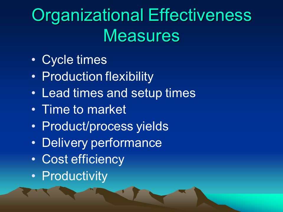 Organizational Effectiveness Measures Cycle times Production flexibility Lead times and setup times Time to market Product/process yields Delivery per