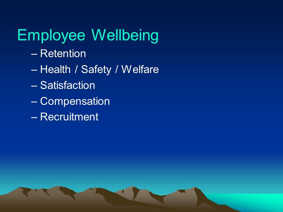 Employee Wellbeing –Retention –Health / Safety / Welfare –Satisfaction –Compensation –Recruitment