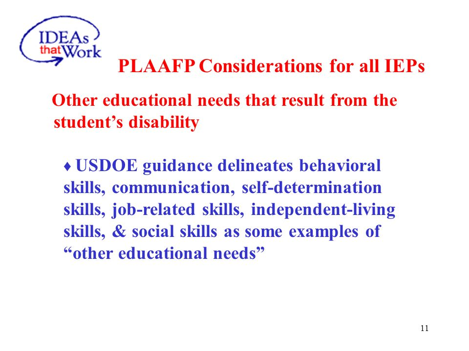 11 PLAAFP Considerations for all IEPs Other educational needs that result from the students disability USDOE guidance delineates behavioral skills, co