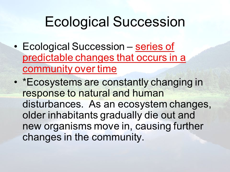 Ecological Succession Ecological Succession – series of predictable changes that occurs in a community over time *Ecosystems are constantly changing i