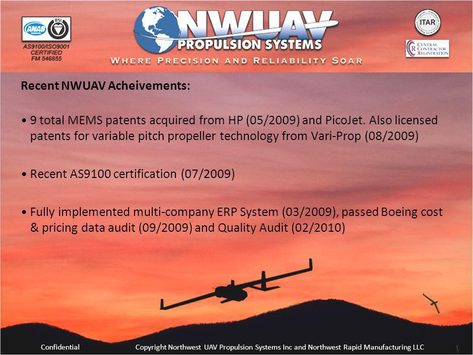 ConfidentialCopyright Northwest UAV Propulsion Systems Inc and Northwest Rapid Manufacturing LLC Recent NWUAV Acheivements: 9 total MEMS patents acqui