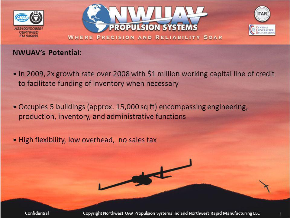 ConfidentialCopyright Northwest UAV Propulsion Systems Inc and Northwest Rapid Manufacturing LLC NWUAVs Potential: In 2009, 2x growth rate over 2008 w