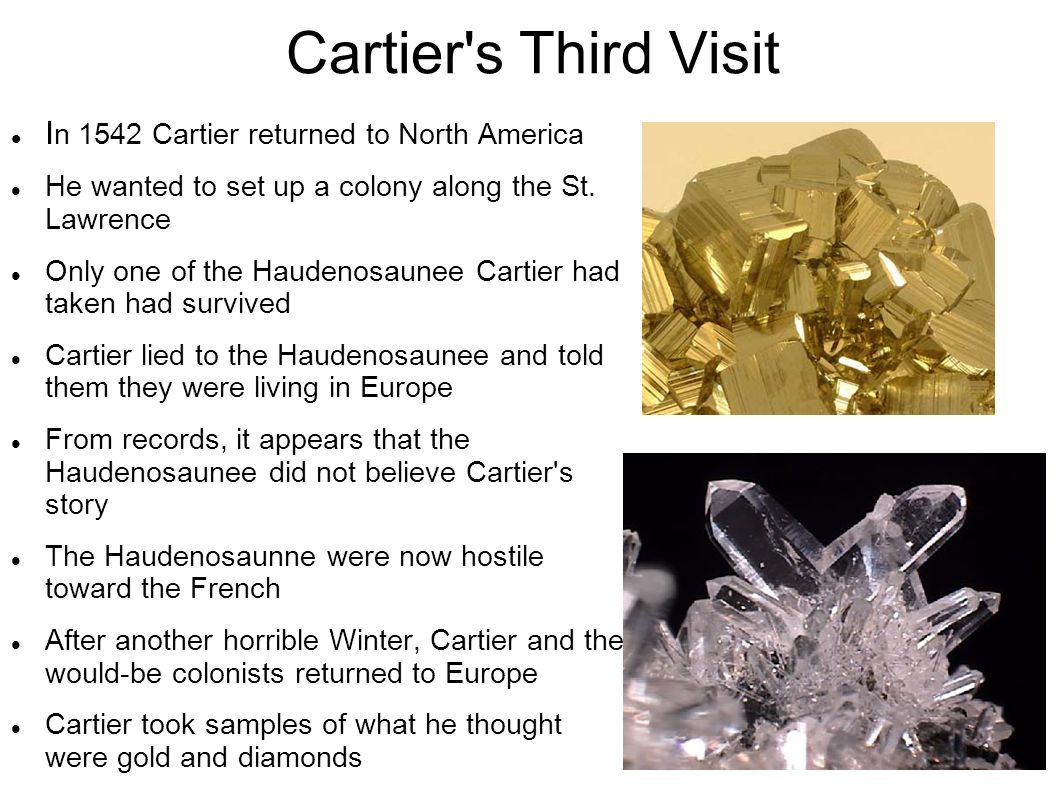 Cartier's Third Visit I n 1542 Cartier returned to North America He wanted to set up a colony along the St. Lawrence Only one of the Haudenosaunee Car