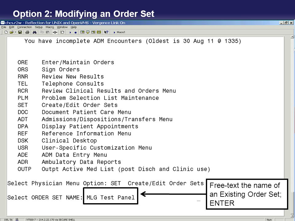 Option 2: Modifying an Order Set Free-text the name of an Existing Order Set; ENTER