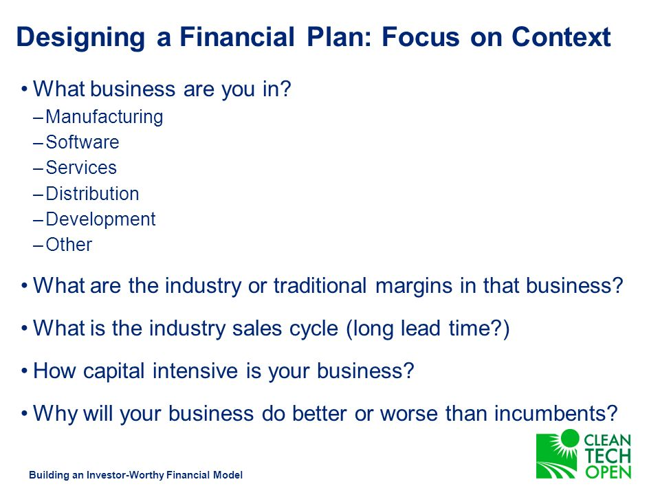 Designing a Financial Plan Building an Investor-Worthy Financial Model