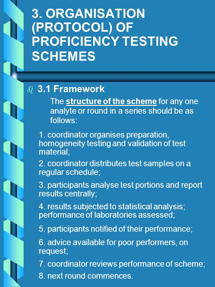 3. ORGANISATION (PROTOCOL) OF PROFICIENCY TESTING SCHEMES b b 3.1 Framework The structure of the scheme for any one analyte or round in a series shoul