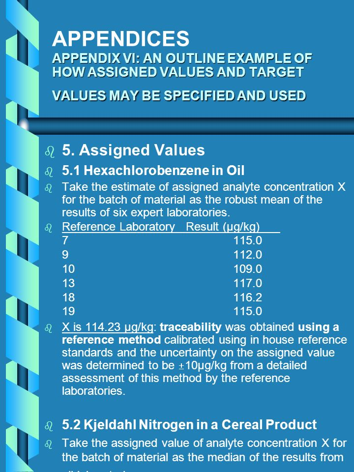 APPENDIX VI: AN OUTLINE EXAMPLE OF HOW ASSIGNED VALUES AND TARGET VALUES MAY BE SPECIFIED AND USED APPENDICES APPENDIX VI: AN OUTLINE EXAMPLE OF HOW A