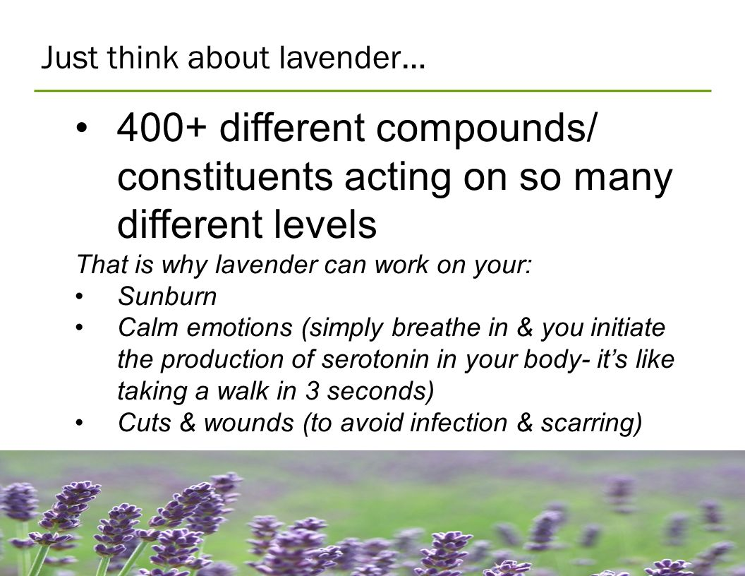 Just think about lavender… 400+ different compounds/ constituents acting on so many different levels That is why lavender can work on your: Sunburn Ca